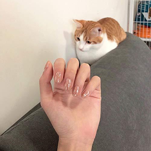 DKHF Valse nagels 24 stuks nep nagel bruine en witte vlekken glitter goudfolie nagels tips dames kunstnagels met pers