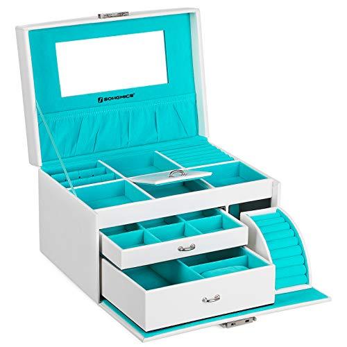 SONGMICS Caja Joyero, Organizador para Anillos, Pendientes y Bisutería, con Espejo y 2 Cajones, PU, 26 x 19 x 18 cm, Blanco JBC211W