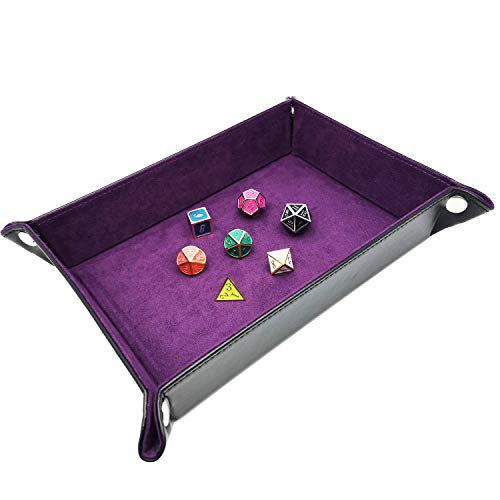 Haxtec Folding DND Dice Tray Black Purple Portable PU Leather Dice Rolling Mat for RPG Dice Games as Dungeons and Dragons (Black Purple)