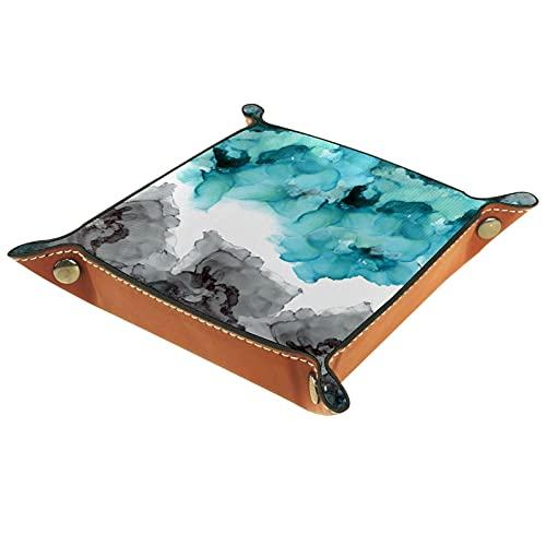FCZ Bandeja organizadora de cuero para guardar carpetas de escritorio, color azul ahumado, verde azulado, gris, negro, acuarela, 20 x 20 cm