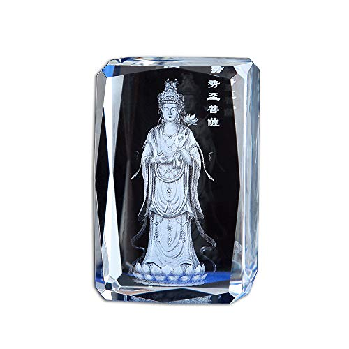 LKXZYX Crystal Glass Statues and Figurines, Etched Crystal Decor Art,Buddhist Supplies Odessa Crystal Carved Buddha Statue Buddhist Temple for Service