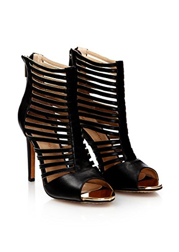 Forever Unique - BOUNDRY - Black Strappy Leather Shoe Boots UK6 EU39