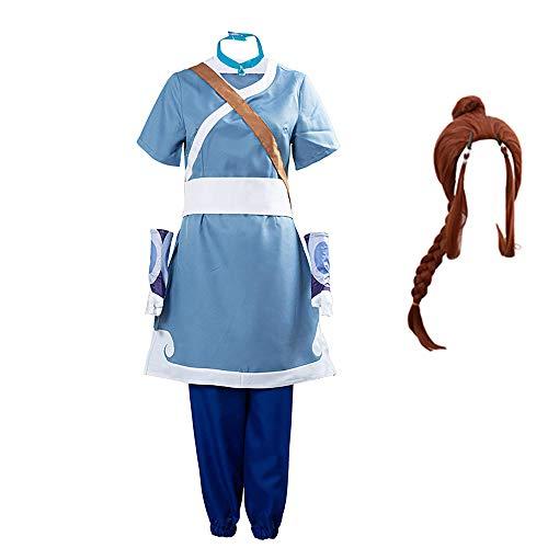 Qingge Costume de Cosplay Katara Avatar Le Dernier Maître de l'air Costumes d'halloween Tenue d'anime Katara Perruque Ensemble Complet pour Hommes Femmes