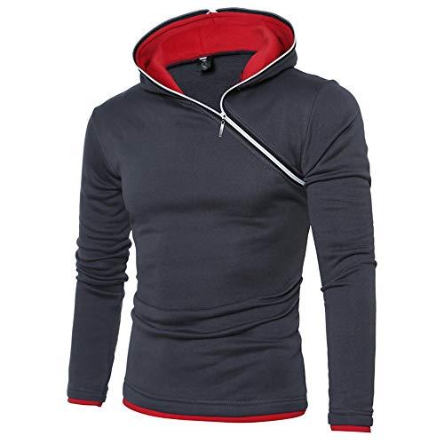Xmiral Kapuzen-Pullover Herren Einfarbig Lose Kapuzensweatshirt Hoodies (S, X Dunkelgrau)