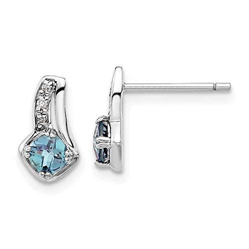 925 Sterling Silver Lab Created Alexandrite Diamond Post Stud Earrings Drop Dangle Birthstone June Gemstone Fancy Fine Jewellery For Women Gifts For Her