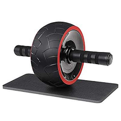 SONGMICS Ab Roller Wheel, Abdominal Exercise Trainer for Core Workout, for Home Gym Office, with Kneepad, Men and Women, Black USPU078R01