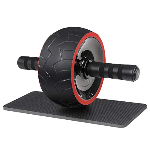SONGMICS Ab Roller Wheel , Abdominal Exercise Trainer for Core Workout , for Home Gym Office , with Kneepad , Men and Women , Black USPU078R01