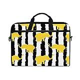 HaJie - Funda para ordenador portátil con diseño de elefante y rayas geométricas, 14 – 14,5 en bolsa de protección, maletín de viaje con correa para el hombro para hombres, mujeres, niños y niñas