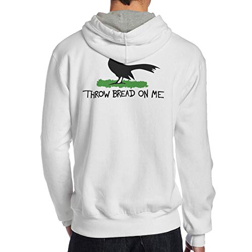 Throw Bread On Me Casual No Pocket Back Men's Hooded Sweatshirt Sweater White