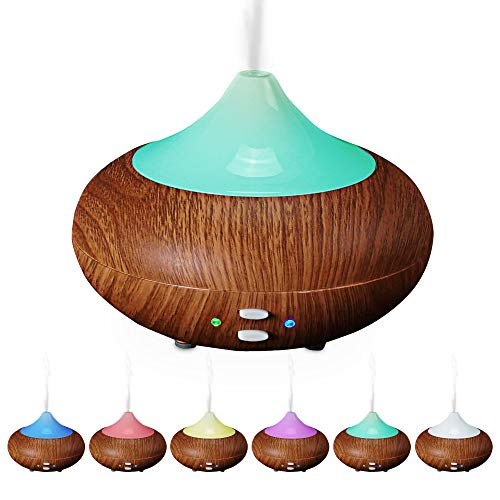 USB Aroma Duftöldiffusor Diffusor in Holzoptik mit Wellness-Beleuchtung Duftlampe ca. Ø13cm 210ml Tank 7 Farben mit Farbwechsel 5W