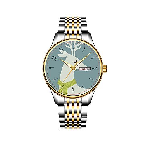 Reloj de pulsera para hombre, mecanismo de cuarzo, fecha, acero inoxidable, correa dorada, diseño de rayas náuticas y marinas