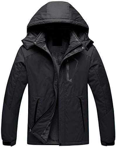 Men's Waterproof Ski Jacket Insulate Fleece Snowboard Parka Windbreaker Raincoat Black XL