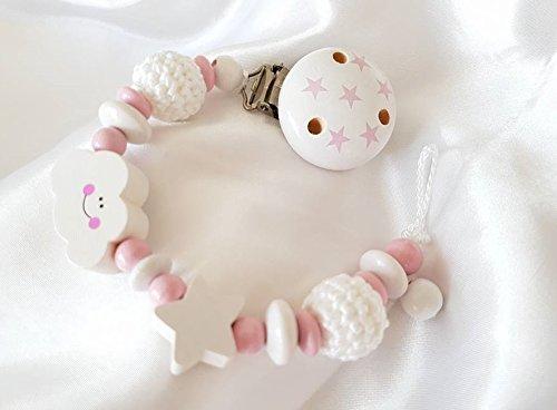 Premium Schnullerkette ohne Namen für Mädchen - Geschenk zur Taufe, Geburt, Babyparty - (Rosa, Weiß, Sterne, Wolke, Sterne)