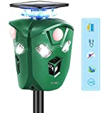 Tech Max Battery Operated Cat Scarer Solar Powered Motion Activated Animal Repellent Waterproof 360 Tri Face Scarecrow Outdoor Fox Repeller for Garden Deterrent