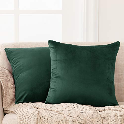 Deconovo Set of 2 Functional Crushed Velvet Throw Pillow Cases Square Pillowcases Cushion Covers for Chairs Emerald 60cm x 60cm 24x24 Inches