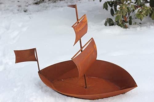 BADEKO Grande Bateau pour Plantes en métal patiné Taille L env. 85 cm, Hauteur 60 cm