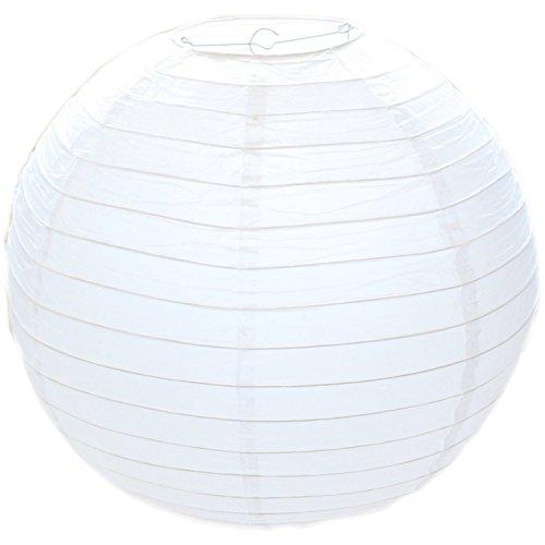 YiGo 1 White Round Paper Bamboo Style Ribbed Lampshade