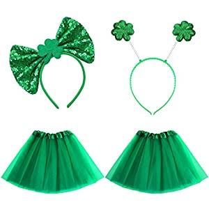 4 Pieces St Patrick's Day Dog Costumes Include Dog Tutu Skirt Pet Tulle Tutus and Green Sequin Bowtie Headband Glitter Shamrock Clover Head Bopper for St Patrick's Day Pets Dogs