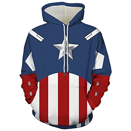 MIANslippers Capitán América Hoodie 3D Imprimir Sudadera Boys Manga Larga Hoody Zip Up Chaqueta Chaqueta Halloween Teens Tracksuit Regalos de Fiesta,Captain America-XXL