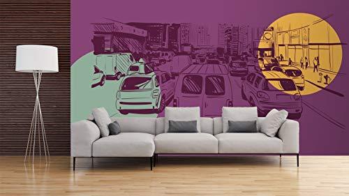 Papier Peint Revêtement Surface Mural | Motif Mur d'image Les Comics Trafic , Circualation Dense Vintage | De 500 x 300 cm | Sticker Vinyle Adhésif Autocollant Fond Mural | decoration d'intérieur
