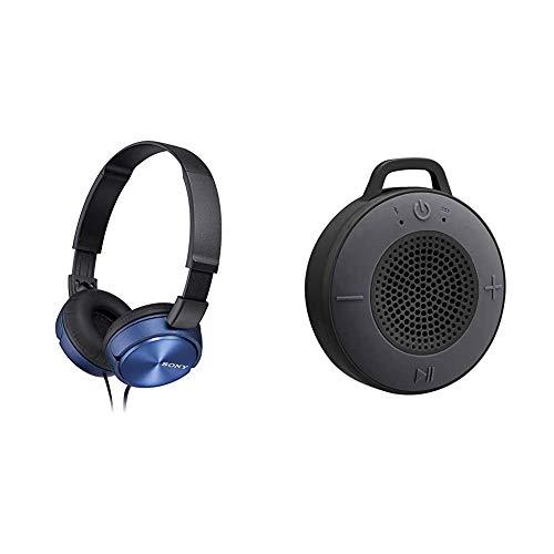 Sony MDR-ZX310 - Cuffie on-ear, Blu & AmazonBasics Altoparlante wireless per la doccia, con driver da 5 W, ventosa, microfono integrato, nero