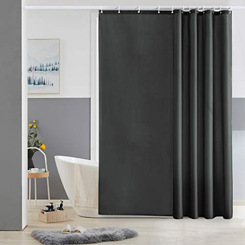 Furlinic 180x180 Duschvorhang Anti-schimmel in Badezimmer Vorhang für Badewanne Dusche, Textile Gardinen aus Stoff Wasserdicht Waschbar, mit 12 Duschvorhangringe Dunkelgrau.
