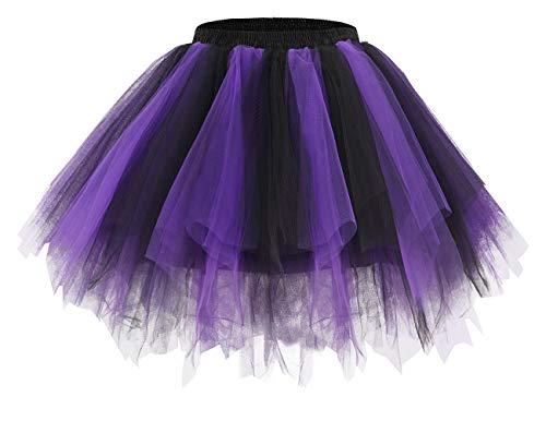 Bridesmay Women's Tutu Tulle Skirt 50s Vintage Ballet Bubble Dance Skirts Black-Purple S