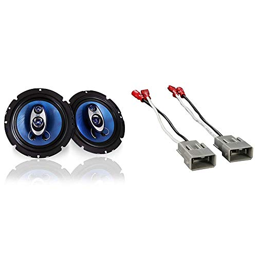 6.5%22 Three-Way Sound Speaker System - 180 W RMS/360W Power Handling w/ 4 Ohm Impedance and 3/4'' Piezo Tweeter & Metra 72-7800 Speaker Connector Harnesses for Select Honda Vehicles