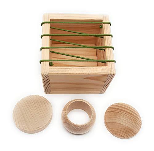 Caja de Permanencia Montessori con Gomas, Juguete Educativo Bebés, Producto Artesanal Hecho en España