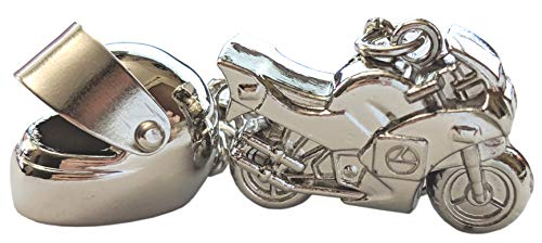 Motorcycle Helmet Keychain & Mini Chrome Motocycle Combo Set