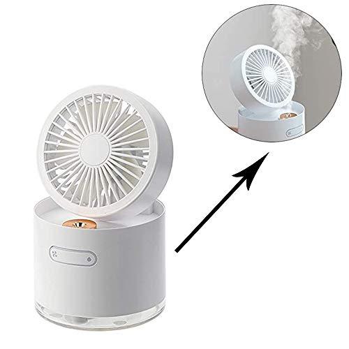 LWJDM Ventilador De Nebulización Portátil USB Eléctrico Recargable Mini Ventilador De Mano Humidificador De Aire Acondicionado De Enfriamiento para La Oficina del Coche del Dormitorio Casero,Blanco