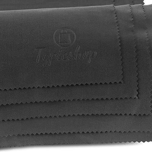 Typicshop Paños de Microfibra - Trapo de Limpieza 190GSM con Bolsa de Cremallera Reutilizable - Atrapa el Polvo - Limpiador para Cristales, Lentes y Pantallas (5 Negro - 30x30cm)
