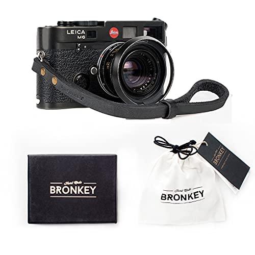 Bronkey Berlin 201 - Correa Cámara Compacta de Muñeca Mano Retro cámara Vintage Handmade Piel Cuero Original