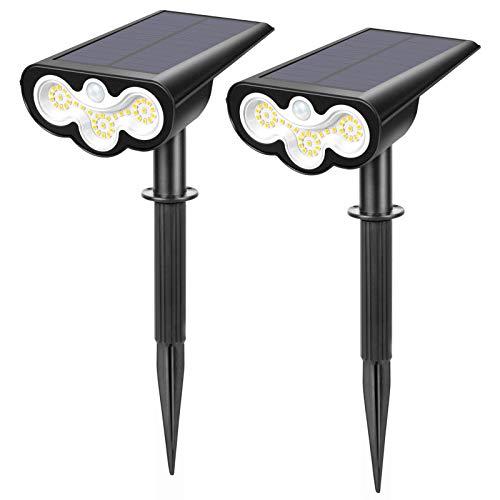 LITAKE Solar Gartenleuchte mit Bewegungsmelder, 39 LED Helle Solarstrahler 2 Beleuchtungsmodi Verstellbare Solarleuchte Garten IP65 Wasserdicht Außen Solarlampen für Garten Eingangstür Garage, 2 Stück