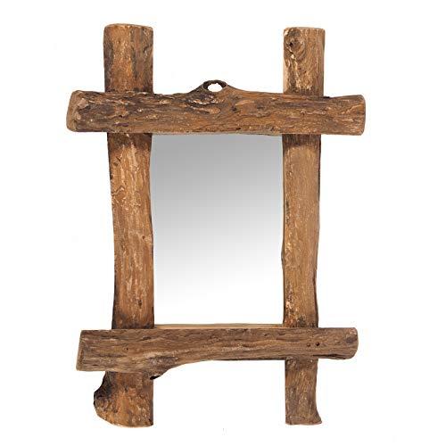 DESIGN DELIGHTS WANDSPIEGEL Vintage Teak | Recyclingholz, 45x60x5 cm (BxHxT), Natur | Spiegel mit Treibholz Rahmen