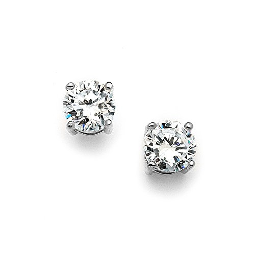Mariell 2 Carat Round-Cut CZ Stud Earrings - 8mm Solitaire Cubic Zirconia Studs - Genuine Platinum Plated
