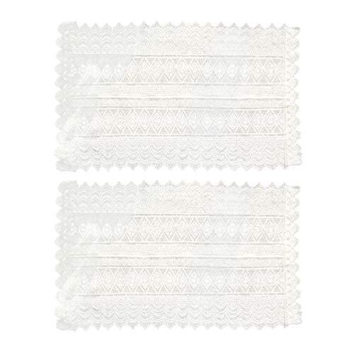 ABOOFAN 2 manteles de gasa blanca transparente de encaje francés para mesa de estilo rural, mantel decorativo para bodas, fiestas de bebé, color blanco
