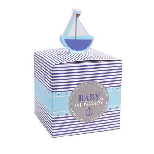 Tomaibaby 50Pcs Papier Pralinenschachtel Segelboot Design Party Geschenkbox für Hochzeit Seethema Parteibevorzugungen