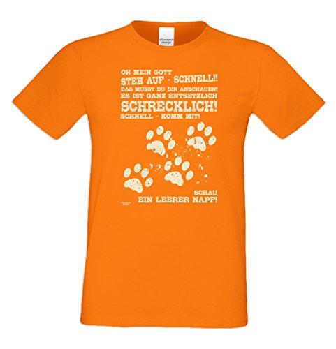 Leerer Napf :: Lustiges Sprüche Fun T-Shirt mit Tiermotiv für Herren :: Geschenkidee für Ihn Geschenk für Katzenliebhaber Hundeliebhaber Pfotenabdrücke Farbe: orange Gr: M