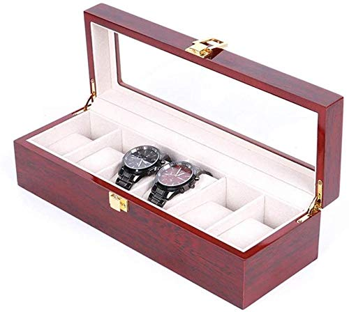 Caja de reloj 6 Caja de reloj Organizador de exhibición Soporte de caja de reloj con compartimentos Ventana transparente Caja de exhibición de joyería con tapa Almohadillas extraíbles