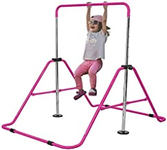 VIVITORY Expandable Gymnastics Bars, Junior Training Bars, Kids Folding Horizontal Bars with Adjustable Height, Training Monkey Bars, Child Gym Climbing Tower, Children Kip Balance Bar for Home (Pink)