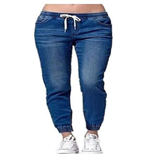 Mode Nieuwe vrouwen Casual Effen Denim Broek Dames Losse Zachte Jogger Trekkoord Elastische Taille Jeans