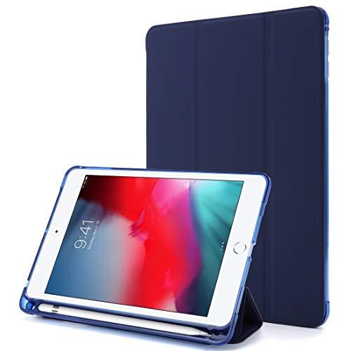 Caja Protectora de la Tableta for iPad Mini (2019) Funda de Cuero Horizontal Flip Horizontal con Titular de Tres Veces (Color : Dark Blue)