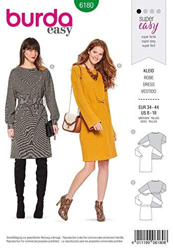 Burda 6180 Schnittmuster Kleid (Damen, Gr. 34-44) Level 1 super Easy