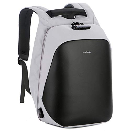Casual Designer Anti-Theft Smart USB Charging Business Computer Men and Women School Bag Backpack Light Gray