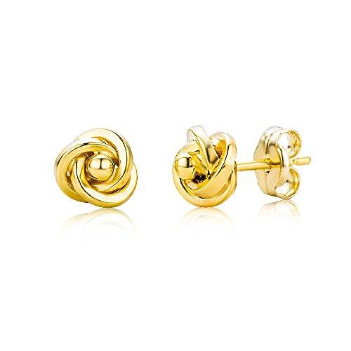 Miore Knoten Ohrstecker für Damen 9 Karat – Elegante Ohrringe aus 375 Gelbgold im Knoten-Design – Hochwertiger Ohrschmuck Ø 6 mm