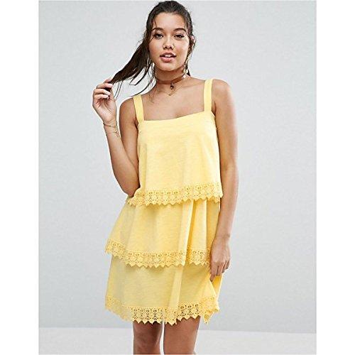 エイソス トップス ワンピース ASOS Tiered Lace Detail Sundress Lemon yell [並行輸入品]