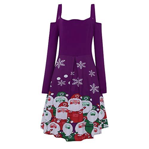 Alwayswin Frauen Weihnachten Sexy Gothic Kleid Trägerlosen Trägern Langarm Kleid Santa Print Party Kleid Vintage Elegant Knielang Kleid Hoher Taille Weihnachtskleid Cocktailkleid