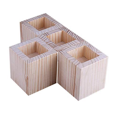 Hölzerne Betterhöhung, quadratische Möbelheber, Innenmaße: 6 cm x 6 cm, 4 Packungen, Rillenerhöhung zum Anheben von Sofa-Beinen und Schrank-Beinen (Größe: A)