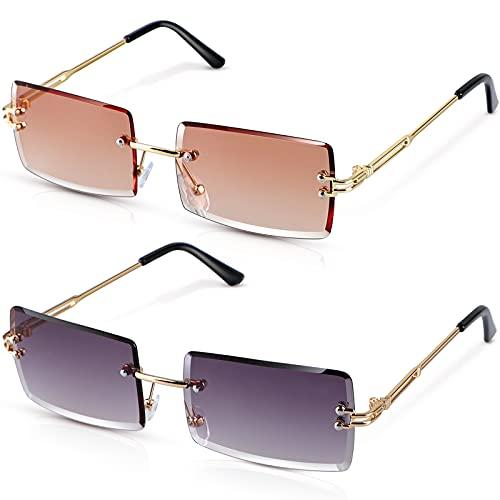 Dcola Mode Vintage Randlose Sonnenbrille für Frauen Männer, 2 Paar Rechteck Gradient Lens Rimless Eyewear UV400 Quadratische Durchsichtige Sonnenbrille Rahmenlose Sonnenbrille Sommer